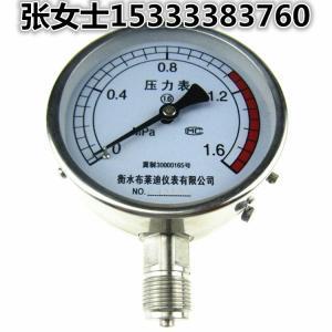 不銹鋼耐震壓力表YTZ100F 0-1.6/10/40/60MPA 抗震充油