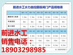 水力自控翻版闸门产品规格表