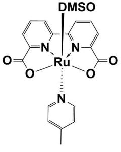 Ruthenium-2,2'-bipyridine-6,6'-dicarboxylate-picoline-dmso