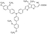 3-{6-{4-[bis(2',4'-dibutyloxybiphenyl-4-yl)amino-]phenyl}-4,4-dihexyl-cyclopenta-[2,1-b:3,4-b']dithiophene-2-yl}-2-cyanoacrylic acid