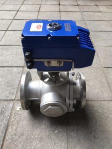 Q944F-16P 電動三通法蘭球閥 不銹鋼電動三通法蘭球閥 電動球閥